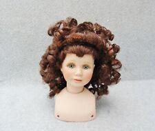 "Doll Wig Only Brunette Brown Curly Hair Bangs Tendril Curl 3"" Head Cap Pre-owned"