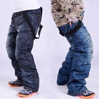 Men Winter Denim Ski Pants Sports Waterproof Snowboard Jeans Trousers Outdoor