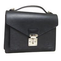 LOUIS VUITTON MONCEAU 28 2WAY HAND BAG SATCHEL SR0046 BLACK EPI M52122 32616