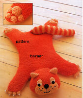 """Vintage Baby Toy Cat  Rug Knitting Pattern Chunky Wool  24"""" x 30"""""""