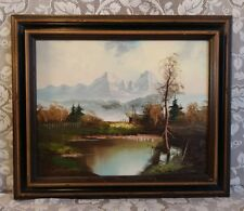 Rudolph Gleiche German Oil on Canvas Mountain Lake Landscape Vintage Framed Art
