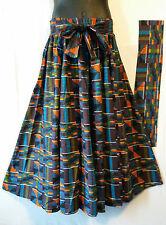 """AfricanKent Print Ankara Maxi Women Skirt 2 Pocket Belt Free Size Waist 46"""" P07"""