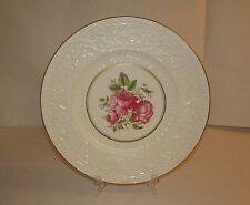 "11"" Wedgewood Porcelain Dinner Plate England Unicorn Logo Pink Center Roses"
