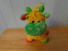 Sugar Loaf Bright Colorful Green Yellow Pink Plush Cow With Yellow Yarn Tuff Of