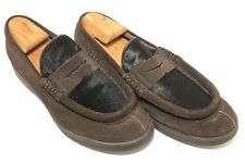 GEOX BY PATRICK COX Men's Brown Suede Pony Hair Loafers ITALY Shoes 11M