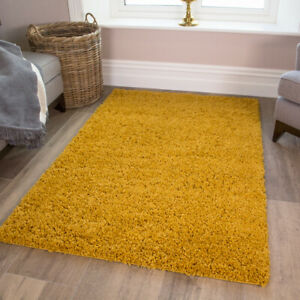 MUSTARD YELLOW SHAGGY RUG 30mm HIGH SMALL LARGE THICK SOFT LIVING ROOM BEDROOM