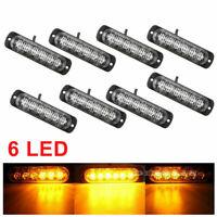8pcs Camion Lampada Ambra 6-LED Avviso di Pericolo Flash Luce Strobo Dc 12V-24V