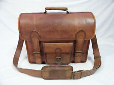 Vintage Leather Briefcase Messenger Bag 17 In Laptop Satchel Office Shoulder Bag