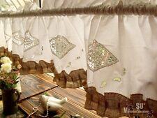 "70"" Shabby French Chic Rustic Burlap Window Kitchen Valance White Crochet Ruffle"