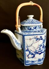 "Superb Antique Large 8"" Tall Heavy (800g) Hand Painted Japanese Ceramic Teapot"