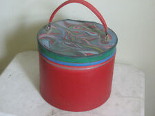 Vintage 60s red Mod Psychedelic Painted Wig Case Hat Box Travel Rare