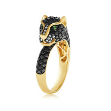Yellow Gold Finish Panther Ring for Women's 1 Ct Black Diamond and Emerald 14k