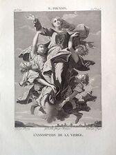 ASSUNZIONE DELLA VERGINE Incisione origina. XIX secolo MADONNA POUSSIN RELIGIOSE