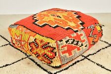 Moroccan Orange red pouf, Vintage red Pouf, berber pouf, Floor pillow