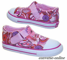Infant Girls Kids CONVERSE All Star T STRAP PINK FLOWER Trainers Shoes SIZE UK 7