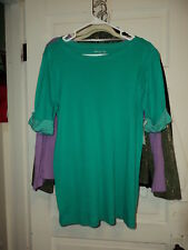 White Stag Green Top with Striped short Sleeve in Medium