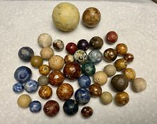Lot Of 44 Rare 19c Clay Marbles Many Breakers Estate Find!