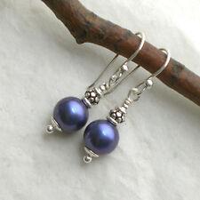 Blaue Vintage MUSCHELKERN Ohrringe 925 Silber Perlenohrringe Sterlingsilber d633