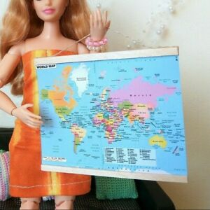 Miniature World Map Colorful Dollhouse Wall Hanging School Accessories 1/6 scale