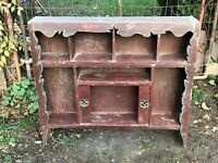 VTG wood Primitive Scroll Cut Design Asian three tier curio wall Desk Top Shelf