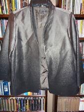 Eileen Fisher Gray Open Front Wool Viscose Jacket Blazer silk Lined sz S  (Bin6)