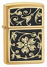 BRIQUET ZIPPO NEUF - NOIR ET OR ( Gold Floral Flush ) - 2016