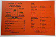 1950's Take Home Dinner Menu Jerry's Wes' Towner Restaurant San Bernardino Ca.