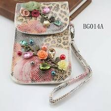 Retail Luxury Vintage Jewelry Colorful Crystal Flower PU Phone Bags & Cases