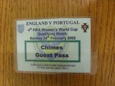 24/02/2002 Ticket: England Women v Portugal Women [At Portsmouth] Chimes Guest P