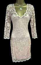 Lispy Sexy Lace Dress 12 Nude Pink 3/4 Long Sleeve Scallop Plunge Wedding Party