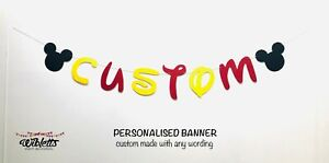 PERSONALISED CUSTOM WORDING BANNER, MICKEY MOUSE INSPIRED THEME BIRTHDAY PARTY