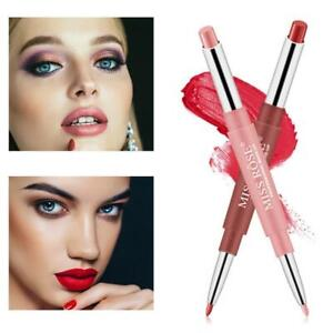 Double Head Matte Lipstick Lip Liner Pencil Pen Waterproof Lips Makeup Miss A+