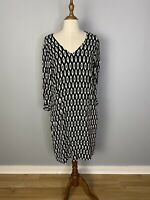 Trenery Womens Size 10 Midi Shift Dress Long Sleeves Geometric Print
