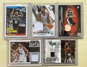 TIM DUNCAN 5 CARD JERSEY LOT #d GAME WORN SPURS Upper Deck Panini Topps 2005-15