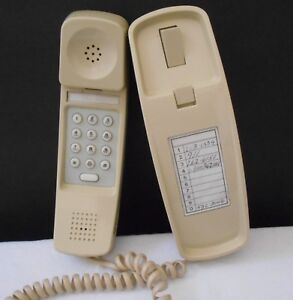 Vintage Telko Model 0702 Desk Wall Mount Phone beige Tan Push Button Not Tested