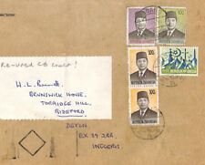 BT94 Indonesia 1970s *Padang* HIGH RATE Commercial Airmail RE-USED GB Cover