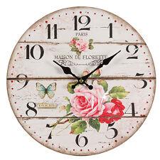 Wall Clock Roses Shabby Vintage Cottage MDF 11in Paris Maison de Florette Decor