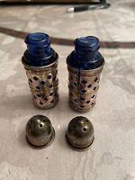 Chromed Silver Metal Cobalt Blue Glass Salt And Pepper Vintage 2.5inches
