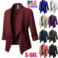 Womens Slim OL Suit Casual Blazer Jacket Coat Tops Outwear Long Sleeve Plus Size