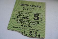 "AC/DC Original 1979 CONCERT Ticket STUB  ""Highway to Hell"" Tour  w/BON SCOTT"
