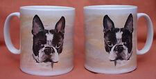 BOSTON TERRIER DOG PORTRAIT DESIGN MUG WATERCOLOUR PRINT SANDRA COEN ARTIST