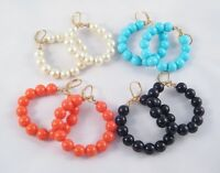 New Set Of 4 Colored Bead Circle Leverback Earrings From QVC #E1090