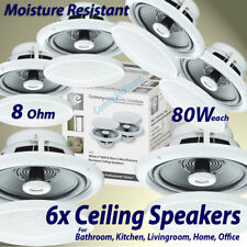 "6X 5"" 80W Moisture Resistant Ceiling Speakers 8ohm Bathroom Or Kitchen B402A B"