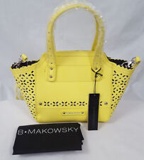 B. Makowsky Perforated Saffiano Mini Tessa Leather Tote Yellow