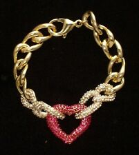 NWT Valentines Day Heart Bracelet 14K Gold Plated w/Red Clear Swarovski Crystals