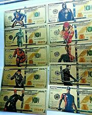 More details for stunning set of ten  different avengers / hero gold plated  banknote's  a