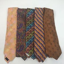 Five Altea Milano Ties Necktie Lot Made In Italy Silk Paisly Diamonds Funky