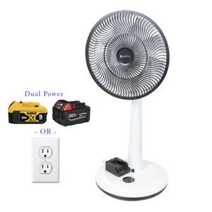 Homeplace - Battery Powered Fan, Oscillating Floor Fan, Fits Dewalt, Milwaukee