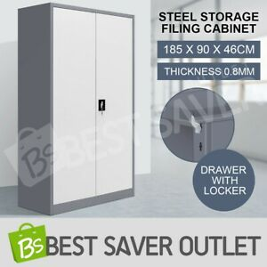 Filing Cabinet Storage Steel Lockable Security Cupboard w/4 Adjustable Shelves