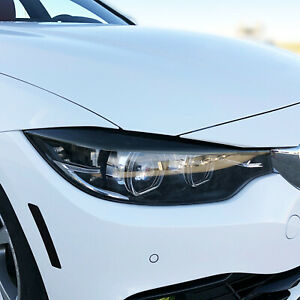 FOR 14-20 BMW 4 Series Gran Coupe Headlight Eyelid SMOKE PreCut Vinyl Overlays